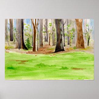 poster da árvore da aguarela