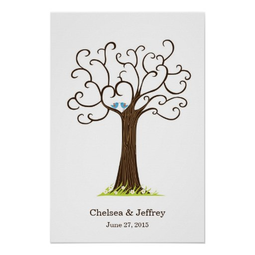 Poster da árvore da impressão digital (Heartastic