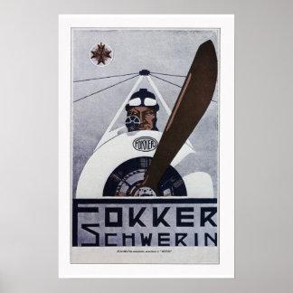 Poster da aviação de Schwerin WW1 do Fokker