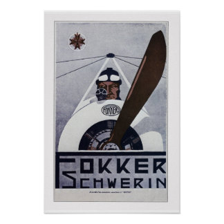 Poster da aviação de Schwerin WW1 do Fokker Pôster