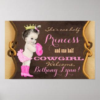 Poster da bandeira do chá de fraldas da princesa