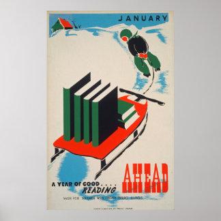 Poster da biblioteca do vintage