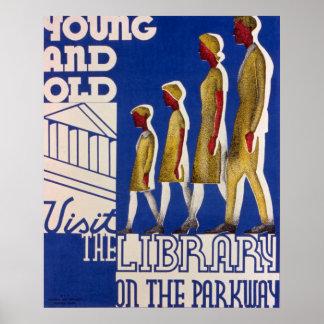 Poster da biblioteca pública do vintage