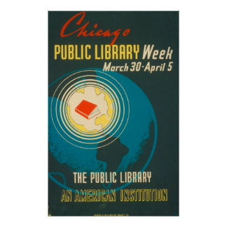 Poster da biblioteca pública do vintage de Chicago
