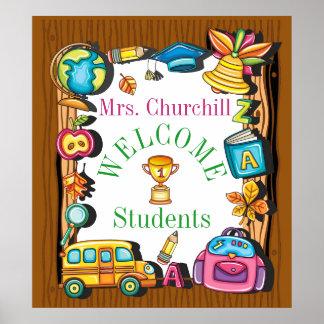 Poster da boa vinda da escola do professor