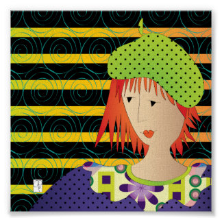 Poster da boina dos chapéus das mulheres