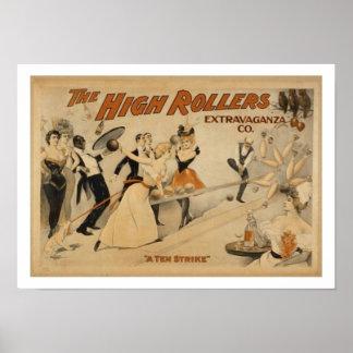 Poster da boliche do vintage