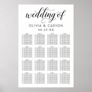 Poster   da carta do assento do casamento preto e