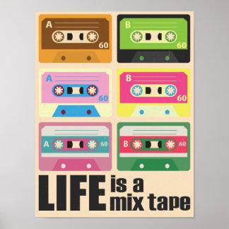 Poster da cassete de banda magnética de fita da