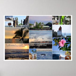 Poster da colagem 36 x 24 de Kailua Kona Havaí