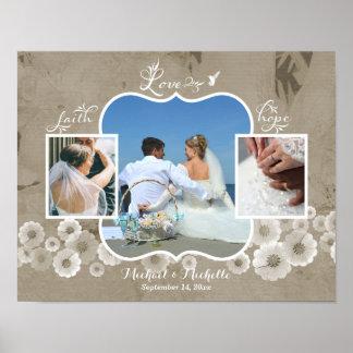 Poster da colagem da foto do casamento do amor pôster