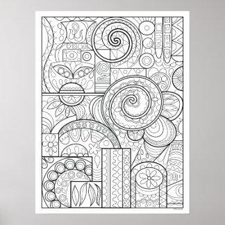 Poster da coloração da arte abstracta - abstrato