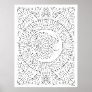 Poster da coloração da lua - poster celestial