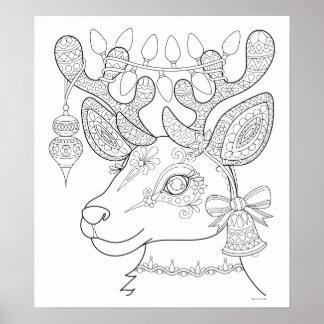 Poster da coloração da rena do Natal - arte