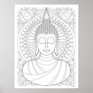 Poster da coloração de Buddha - arte ilusória de
