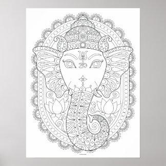 Poster da coloração de Ganesha - arte ilusória de