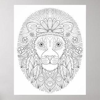 Poster da coloração do leão do Hippie - poster
