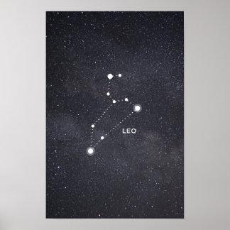 Poster da constelação do zodíaco de Leo