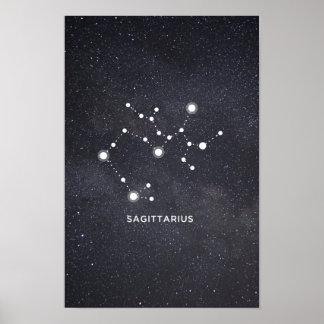 Poster da constelação do zodíaco do Sagitário