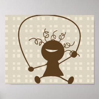 Poster da corda de salto da menina