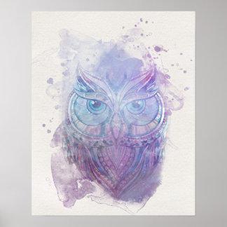 Poster da coruja da aguarela