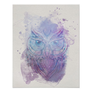 Poster da coruja da aguarela pôster
