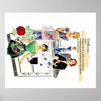 Poster da cozinha do vintage com fogão e avental pôster