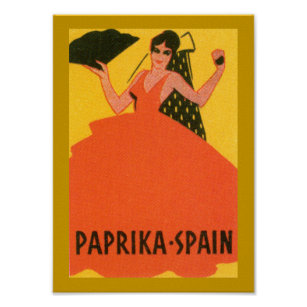"""Pôster Da """"etiqueta da espanha paprika"""" do vintage"""
