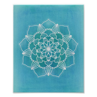 Poster Da flor azul da mandala do Aqua arte geométrica do