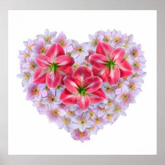 Poster da flor do amaryllis da forma do coração