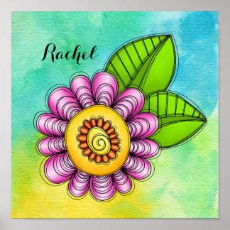 Poster da flor do Doodle da aguarela do prazer