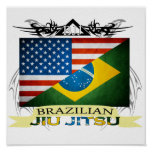 Poster da fusão da bandeira de Jiu JItsu do brasil