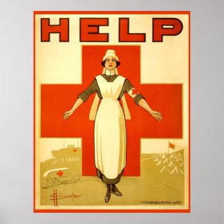 Poster da guerra mundial 1 do vintage da enfermeir