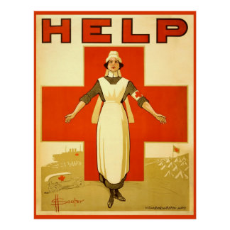 Poster da guerra mundial 1 do vintage da enfermeir pôster
