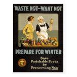 Poster da guerra mundial 1. O desperdício não, que Cartao Postal