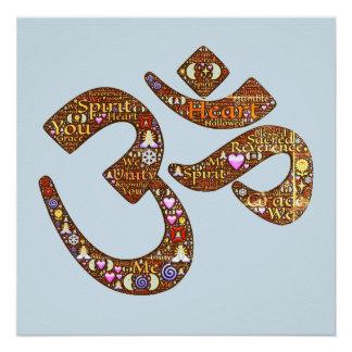 Poster da ioga da meditação do símbolo do OM Poster Perfeito