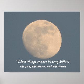 Poster da lua azul, lua do sol das citações e