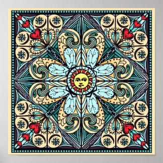 Poster da mandala de Sun do estilo do vintage