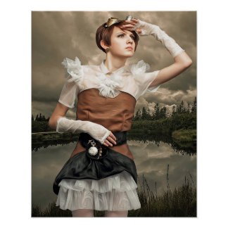 Poster da mulher de Steampunk da arte da fantasia Pôster