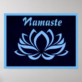 Poster da parede de Lotus azul Namaste Pôster