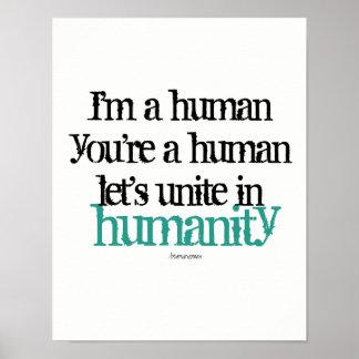 Poster da parede eu sou um ser humano uno a pôster