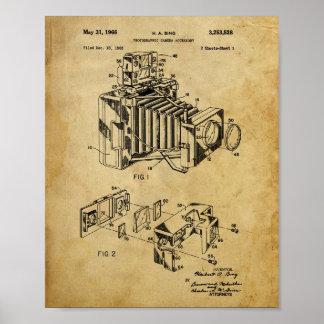 Poster da patente da câmera do vintage