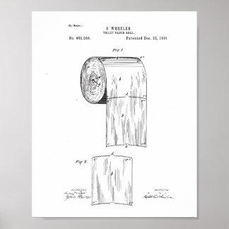 Poster da patente do papel higiénico, decoração do