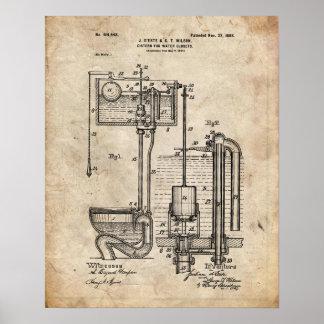 Poster da patente do reservatório do toalete