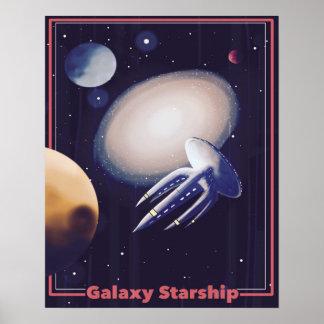 """Poster Da """"poster retro de Starship galáxia"""""""