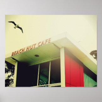 Poster da praia com o café da cabana da praia do pôster
