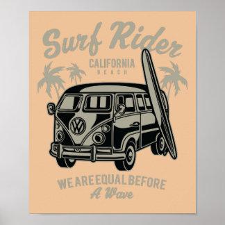 Poster da praia de Califórnia do cavaleiro do surf