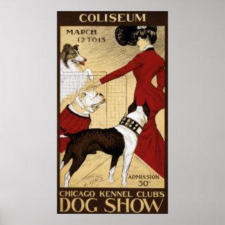 Poster da propaganda da exposição de cães do clube