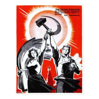 Poster da propaganda do vintage do russo cartão postal