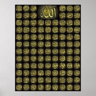 Poster da qualidade de 99 nomes de Allah o melhor Pôster